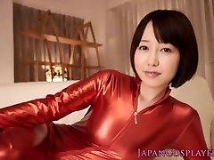 Cosplay catsuit Asuna Langley jizz guzzling