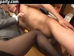 Secretary Cum On Her Tights Chinese