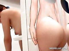 Sexy asiatique rousse obtient chatte léchée sur gloryhole