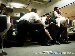 Sizzling Asian orgy on a plane