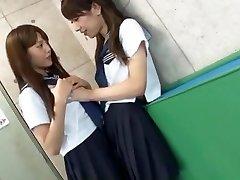 Exotic Japanese tart Rin Kashiwagi, Maria Hanano, Ai Uehara in Crazy Small Tits, Lesbian JAV episode