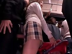 Shy Schoolgirl rubbed and used in a bus