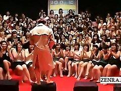 Subtitled CFNM Japanese xxl handjob suck off event