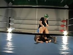 Buxom hairy Jap pulverized in a wrestling ring