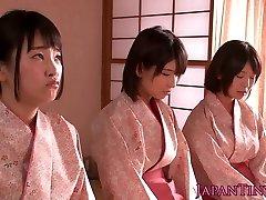 Spanked japanese teens goddess stud while wanking him off