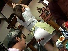 Mature fucking threesome with Mirei Kayama in a mini mini-skirt