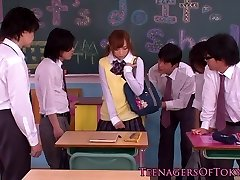 Japanese mass ejaculation teen in class fapping cocks
