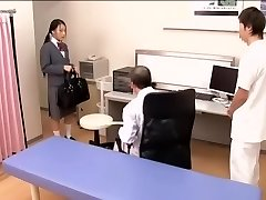 Medical scene of young na.ve Asian hottie getting checked by two horny doctors