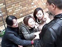 Chinese chicks tease man in public via handjob Subtitled