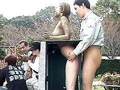 Cosplay Porn: Public Painted Statue Shag part Four