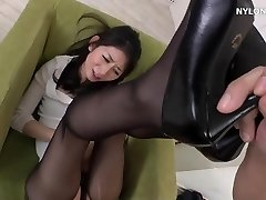 next door neighbour in pantyhose high high-heeled slippers