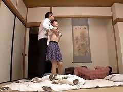 Housewife Yuu Kawakami Pulverized Hard While Another Stud Watches