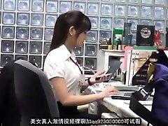 Søte asiatiske kontor dame blackmailed