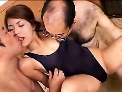 Beautiful young babe has two mischievous old guys enjoying her lo