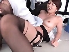 Jap warm school teacher boob sucked and puss tickled at work