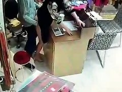 Asian owner have sex during service hours