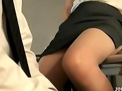 Office Lady In Tights Riding On Boy Face Fingered On The Floor In The Of