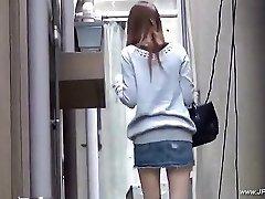 Oriental women visit rest room.Legal