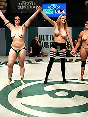 TAKE THAT TEAM RED! Now you get to suck some big green cock!!!! After a brutal Tag Team Match, Team Green: Mistress Kara and Princess Donna, finally pull into the lead and get to fuck the living hell out of the losers! Massive 7 girl fuck fest with fisting, humiliation, first time squirting, and lesbian strap-on fucking, all in front of a live audience. And, of course, as a final touch of power, Princess Donna makes Izamar say,