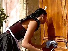 Obedient  maid is disciplined by  cruel domina