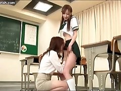 Babe sucks shemale penis in class
