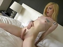Transsexual Annabelle Lane cute blondie, beautiful feet, masturbation