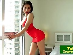 Transgender Princess jerking cock and showing culo off