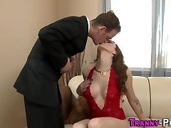 Sexy tgirl cum covered