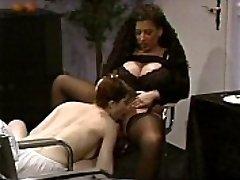 Huge-boobed Tiziana Redford in Black Lingerie lesbian scene