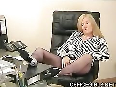 Lush Assistant Teases In the Office In Blue Silk Stockings