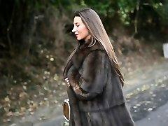 exhibitionist: nude under luxe fur coat & vintage garterbelt