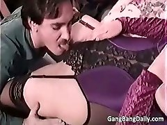 Pregnant mommy deepthroats many hard cocks part5