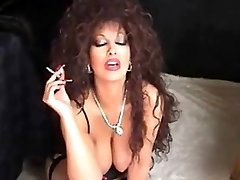 Classic Busty Cougar Smoking and Playing