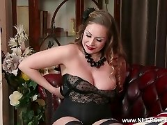 Natural big tits brunette Sophia Delane wanks in nylon high-heeled shoes
