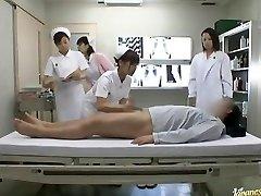 Mischievous Asian nurses take turns railing patient