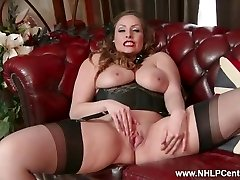 Congenital big tits dark haired Sophia Delane strips to nylons heels and wanks