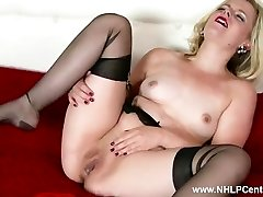 Naughty towheaded Anna Belle wanks in retro garter and sheer ebony nylons