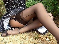 Polkadot Dress Dark-hued Nylon Stockings