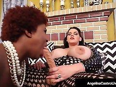 Hot Latina Plumper Angelina Castro StrapOn Smashes Ebony Maserati!
