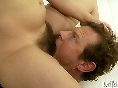 Dark-haired hussy Viola Starr gets her hairy twat licked