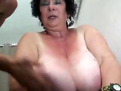 FRENCH BBW 65YO Grandmother OLGA Drilled BY 2 MEN - DP