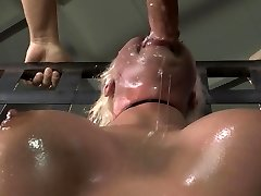Slobber covered face from BDSM face plow
