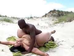Interracial BBW BEACH Pummeling
