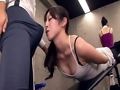 Japanese educator acquires erection at the gym