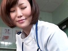 Subtitled CFNM Asian female doc gives patient handjob