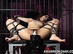 Luxurious girl is tied up and fucked by xxl machine