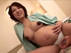 pregnant Japan female still gets drill part 2