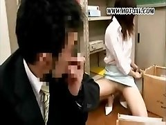 Youthfull Asian office whore gets it on with her dirty old boss