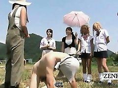 Subtitled CFNM outdoor Chinese semen stroking ranch
