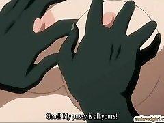 Huge-boobed anime hard fucked by lizard monster